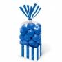 Juego de 10 bolsas para dulces azul real y blancas