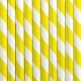 Pack de 10 Pajitas de Papel Rayas Amarillas