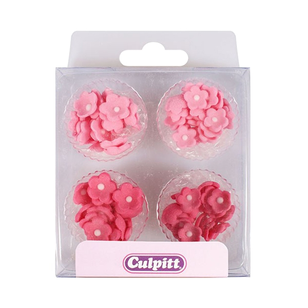Juego de 100 mini flores de azúcar en color Rosa