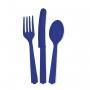 Juego de 18 Cubiertos de Plástico Azul Marino