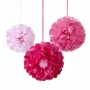 Juego de 3 pompones con forma de flor en 3 tonalidades de rosa