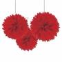 Juego de 3 Pompones Rojos 40 cm