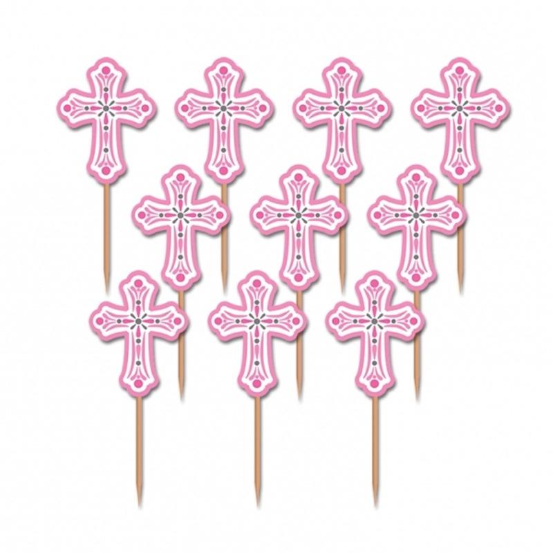 Juego de 36 cruces rosas para decorar