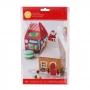 Juego de 4 Cajas para Dulces Mini Casa Navidad