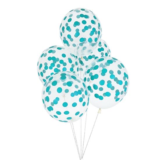 Juego de 5 globos Confeti Turquesa