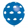 Juego de 8 Globos Azules con Nubes Blancas