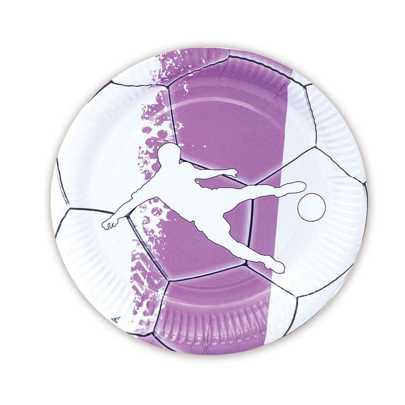 Juego de 8 Platos Fútbol Blancos y Lilas