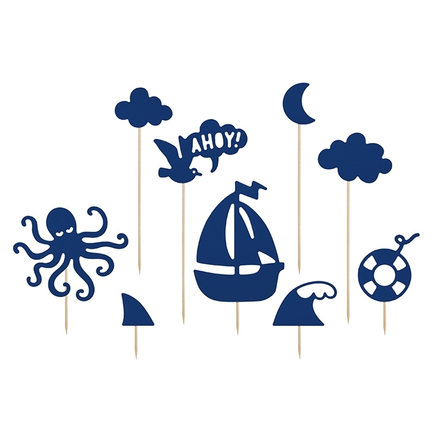 Juego de 9 toppers para dulces Ahoy