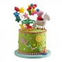 Kit para decorar tartas y bizcochos de Pepa Pig a caballo 7 piezas