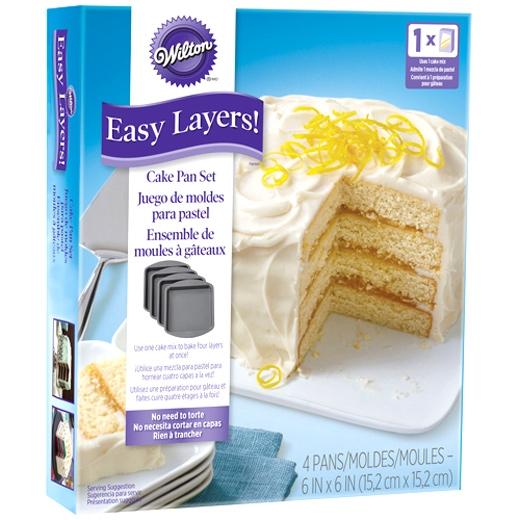 Set de 4 Moldes para Layer Cakes Cuadrados 15cm