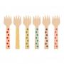 Mini Tenedores de Madera Lunares Multicolor