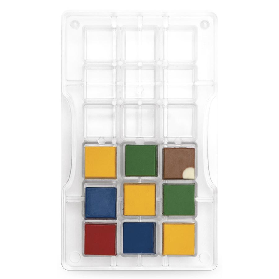Molde policarbonato para chocolate cuadrados