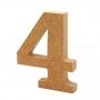 Número 4 de Madera 12cm
