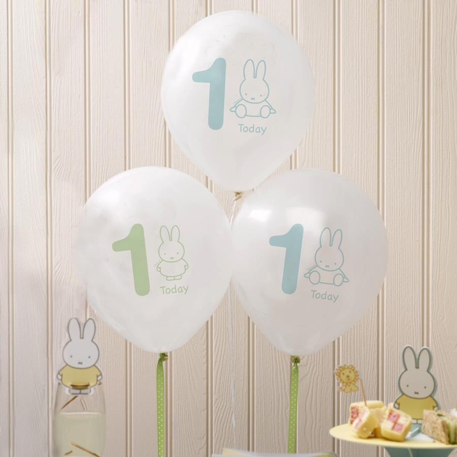 Pack 8 globos 1 año Baby Miffy