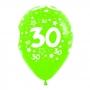 Pack de 10 globos 30 años multicolores