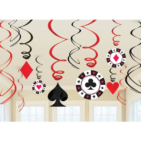 Pack de 12 Decoraciones colgantes Poker