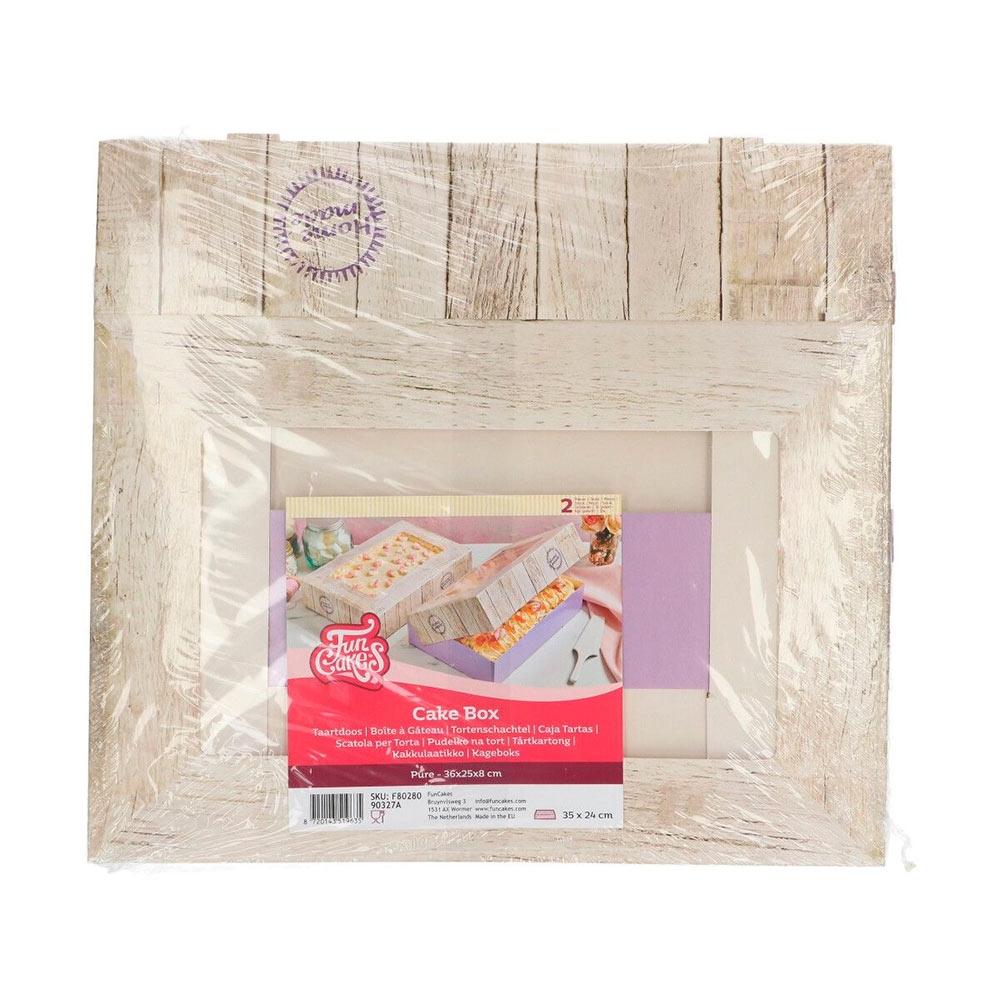 Pack de 2 cajas rectanguares para tarta Home Made 36x25cm