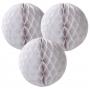 Pack de 3 pompones nido de abeja blancos