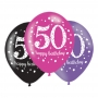 Pack de 6 globos brillantes para 50 cumpleaños