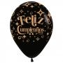 Pack de 12 Globos Feliz Cumpleaños Glitter Gold 30 cm