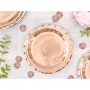 Set de 6 platos de cartón en color rose gold de 18 cm