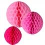 Pompones Nido de Abeja en tonos rosados 3 Unidades