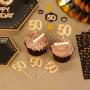 Set de 20 toppers para fiesta de 50 años en color oro