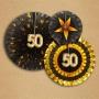 Set de 3 abanicos negros y dorados para decorar fiesta de 50 años