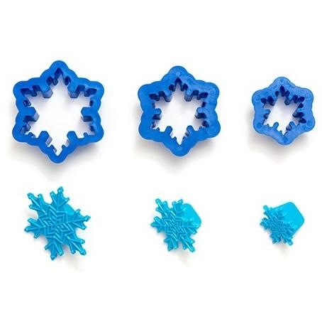 Set de 3 cortadores con marcador copo de nieve
