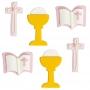 Set de 6 figuras de Azúcar Comunión Rosa