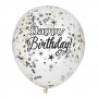 Set de 6 Globos Birthday Glitter con Confeti
