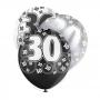 Set de 6 globos de 3 colores para 30 cumpleaños Black Glitz