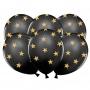 Set de 6 Globos negros con Estrellas doradas