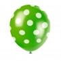 Set de 6 Globos Verdes con Lunares Blancos 30cm