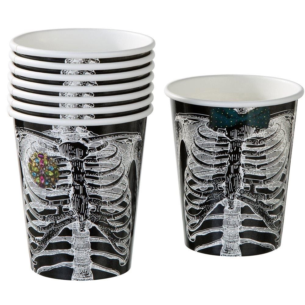 Set de 8 vasos de papel esqueleto