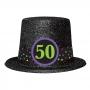 Sombrero de copa para 50 cumpleaños brillante