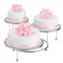 Soporte para tarta de 3 pisos en metal cromado