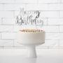 Topper para Tartas Happy Birthday Plateado 22 cm