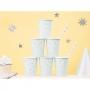 Set de 6 vasos azul claro pastel con estrellas plateadas de 260 ml