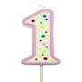 Vela de cumpleaños 1 rosa
