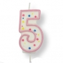 Vela de cumpleaños 5 rosa
