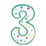Vela de cumpleaños Nº 3 verde
