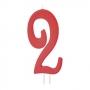 Vela Número 2 Roja 12cm