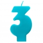 Vela número 3 color turquesa 6cm