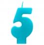 Vela número 5 color turquesa 6cm