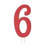 Vela Número 6 Roja 12cm