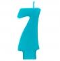 Vela número 7 color turquesa 6cm