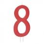 Vela Número 8 Roja 12cm