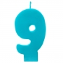Vela número 9 color turquesa 6cm