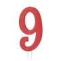 Vela Número 9 Roja 12cm